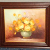 Original Oil Floral Still Life in Solid Wood Frame by Robert Cox.  Artist for the Common Man.  Born on July 14th, 1934 in Mt Holly, New Jersey, Robert Cox studied at the Katharine Gibbs School of Art from 1953 until 1956 before joining Mayhew Peakes Inc. as a graphic designer. Dissatisfied with his progress he resigned in 1962 and moved to California where he married Marjorie in 1966. The new Californian environment gave him unrestricted floral subjects for his painting and he painted furiously to make up for the lost time he felt he had spent in Philadelphia. It was important to him that art was available to the general public. He appreciated that most people could not afford thousands of Dollars for original works and, often to his own financial detriment.  Robert Cox died on June 18th, 2001 in Escondido, California after a long illness. 32 x 29.  <b>$95</b>