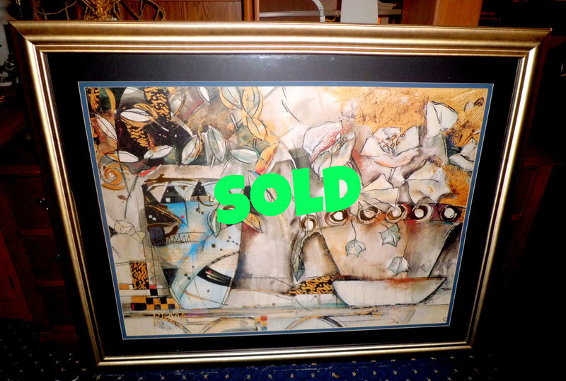 <b>Available at our Livernois Store Location - (313) 345-0884.</b>   Impressive Large Abstract Still Life Framed Art in Excellent Condition.  This compelling piece would be a wonderful focal point in any home.  58 x 46.  <b>$225</b>