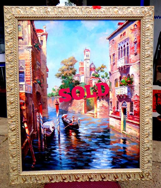 Venetian Original Oil on Canvass in Ornate Frame.   29 x 36.   <b>$150</b>