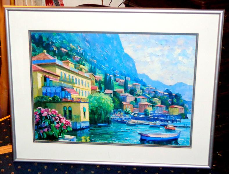 Extraordinary Mediterranean Village Shoreline Framed Art in Contemporary Frame.  37 x 30.  <b>$65</b>