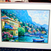Extraordinary Mediterranean Village Shoreline Framed Art in Contemporary Frame.  37 x 30.  <b>$65</b>