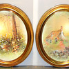 Set of 2 Oval Wall Art Pieces with Glass-Covered Ornate Frame.  19 x 24.  <b>$75 for the set.</b>