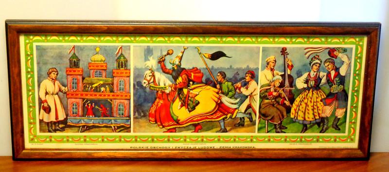 Polskien Obchody I Zwyczaje Ludowe - Ziemia Krakowska.  Wydawnictwo Salanu Malarzy Polskich w Krakowie.  Nr. 1.  Szopka Krakowska.  Konik Zwierzyniecki.  Wesele Krakowskie.  Polish art celebrations in the homeland Krakow. 28 1/2 x 11 1/2.  <b>$125</b>