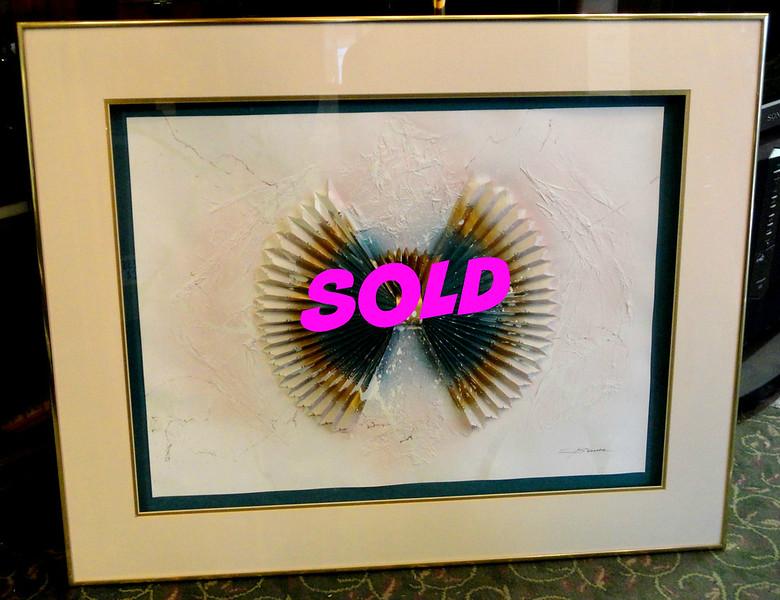 Intriguing Contemporary 3-Dimensional Fan Framed Art.  40 x 33.  <b>$95</b>