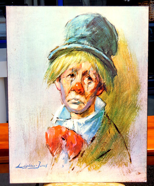 Rare Leighton Jones Clown with The Top Hat Painting Lithograph on Decor Plaque.  22 x 28.  <b>$65</b>