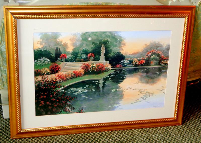 Elegant Tranquil Pond Nature Scene Framed Art Print.  43 x 31 1/2.  <b>$30</b>