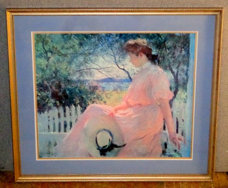Lady in Pink in Ornate Frame.  34 x 30.  <b>$50</b>