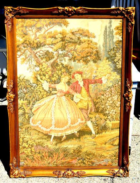 Elegant French Provincial Tapestry Art in Ornate Frame. 30 x 42.  <b>$195</b>