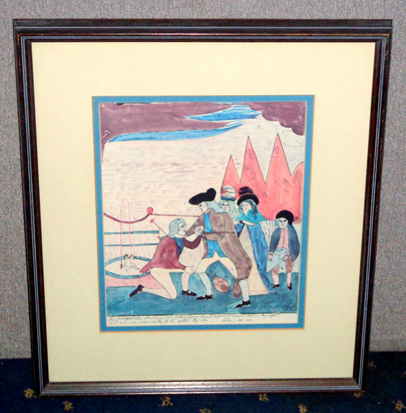 The Prodigal Son Reclaimed Mary Ann Wilson 1820, Folk Art Religious Framed Litho.    Originally created about 1820 by Mary Ann Willson, New York, this decorative print entitled  <i>Prodigal Sun Reclaimed</i>  was reproduced by permission in 1968 in a portfolio collection from which it was extracted. It is a high quality print in excellent condition, perfectly suitable for framing - a wonderful alternative to expensive originals and looks great in this frame.  It is in excellent condition. While this watercolor was copied from a print source, the creative changing of natural elements to stylized forms and patterns has the effect of dramatizing the Biblical figures. Mary Ann Willson's paintings are among the best illustrations of works that transcend their inspiration. Her use of vivid color and flat form forecasts the work of the modern avant garde. Miss Willson lived with a Miss Burbage for several years on a farm in Greenville, N. Y. Miss Burbage ran the farm and Miss Willson painted watercolors which she sold to her neighbors for modest sums. Well in advance of her time she considered her own productions as small masterpieces. 16 1/2 x 19 1/2.  <b>$95</b>