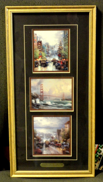 Elegantly Framed Accent Print Featuring 3 Masterful Thomas Kincaide Oil Paintings.  Like-New condition.  10 1/2 x 21. Compare quality pre-owned prints similar to this on e-Bay at over $125.  <i>Our Price:</i><b> $85</b>