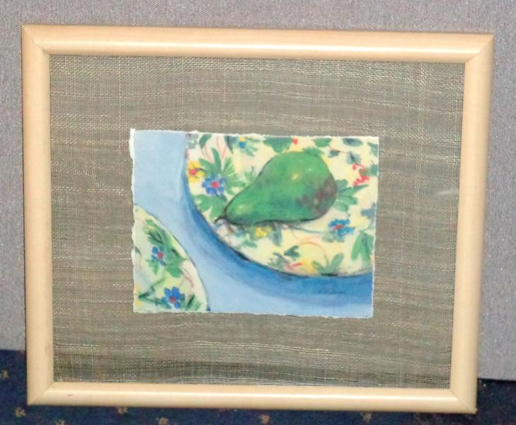 Unique <i>Pear On Plate</i> Framed Art By David Walker.  21 x 18 1/2.  <b>$45</b>