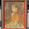 "<i>Mademoiselle Irène Cahen d'Anvers </i>by Renoir ~ Stretched Canvass Print in Ornate Frame with Red Felt Matte.  Irène was born in 1872 and lived in Paris, where she would live at least until she was married.  Her father, a wealthy Jewish banker named Louis Raphael Cahen d'Anvers commissioned Pierre Auguste Renior for three portraits in 1880; one of each of his daughters.   Late in 1946, the portrait began traveling in an exhibit with other liberated paintings from WWII entitled, ""Masterpieces of French collections found in Germany and Switzerland"", where it was seen by Irène. She began lobbying to have it restored to her, and ultimately was successful in doing so as it's last legal possession was that of her daughter, of whom Irène was the inheritor.  Living in the moment and indulging in life's temporal pleasures were among Pierre Auguste Renoir favorite themes, and he expressed them more than any other Impressionist.  23 x 30.  <b>$95</b>"