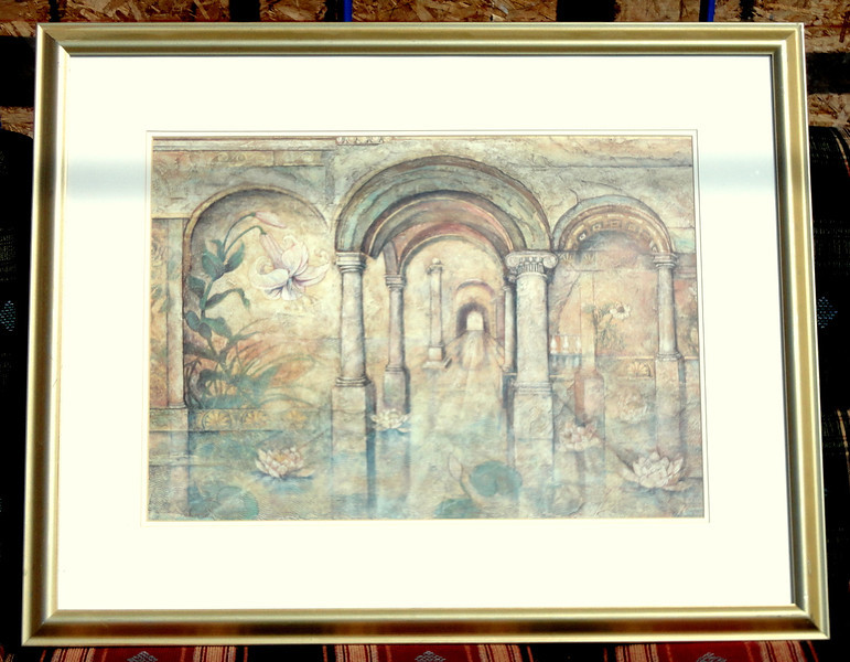 Roman Arches Framed Art.  39 x 31.  <b>$40</b>