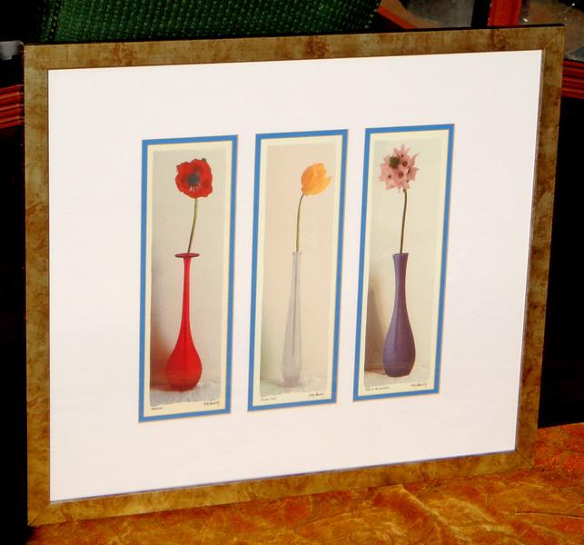 Elegant 3 Flowers in Vase Framed Art Print.  30 x 26.  <b>$20</b>