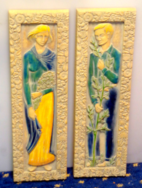 Set of 2 Uniquely Styled Wall Hangings By Syracuse Ornamental.  7 x 22.  <b>$125 for the set.</b>