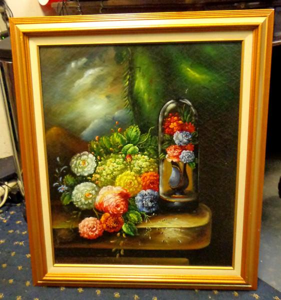 Elegant Floral Still Life in Oil.  26 x 30.  <b>$75</b>