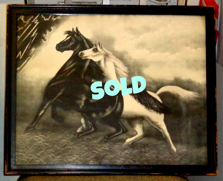 """Rare Antique 1900 Black and White Spirited Horses #2 Print in Frame by Jos Hoover & Sons. This is an original antique lithographic print from 1900, titled SPIRITED HORSES No. 2 by Jos Hoover & Sons Philadelphia. It is said that the original was created by an artist with the name of LeRoy, or Le Roy.  This piece was very popular in the early 20th century and has been used as a prop in various films and t.v. shows. For example, it appears in the Christmas film, """"A Christmas Story."""" You can see for yourself if you go to the scene where the leg lamp breaks. The frame looks like it is very old and the original and the backing looks to be the original also and never opened.  22 x 18. <b>$195</b>"""