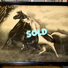 "Rare Antique 1900 Black and White Spirited Horses #2 Print in Frame by Jos Hoover & Sons. This is an original antique lithographic print from 1900, titled SPIRITED HORSES No. 2 by Jos Hoover & Sons Philadelphia. It is said that the original was created by an artist with the name of LeRoy, or Le Roy.  This piece was very popular in the early 20th century and has been used as a prop in various films and t.v. shows. For example, it appears in the Christmas film, ""A Christmas Story."" You can see for yourself if you go to the scene where the leg lamp breaks. The frame looks like it is very old and the original and the backing looks to be the original also and never opened.  22 x 18. <b>$195</b>"