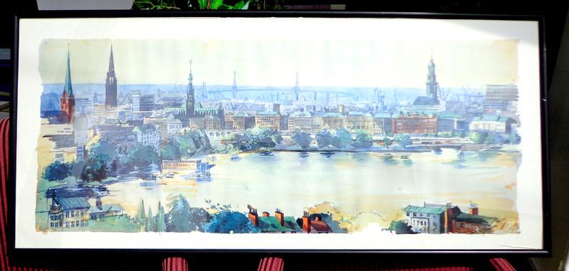 Compelling 1984 Original Watercolor in Frame.  56 x 26.  <b>$250</b>