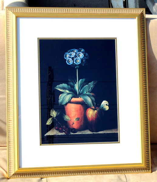 Fruit with Flower Still Life.  22 x 25.  <b>$35</b>