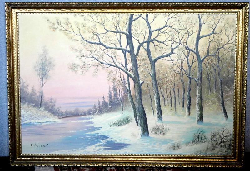 Original Winter Nature Scene in Oil by E. Viezi.  40 x 28.  <b>$95</b>