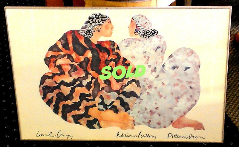 Limited Edition <i>Carol Grigg Editions Gallery Portland, Oregon</i> Framed Poster Print.  38 1/4 x 26.  <b></b>