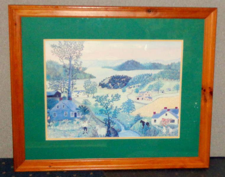 """<i>A Beautiful World</i> by Grandma Moses Elegantly Framed Print.   As the title suggests, <i>A Beautiful World</i> represents Grandma Moses' view of ideal harmony between humankind and nature.  """"I like pretty things the best,"""" Moses once told an interviewer. """"What's the use of painting a picture if it isn't something nice? So I think real hard till I think of something real pretty, and then I paint it. I like to paint old-time things, historical landmarks of long ago, bridges, mills, and hostelries, those old-time homes, there are a few left, and they are going fast. I do them all from memory, most of them are daydreams, as it were.""""  An insightful art reviewer once wrote,  """"All art is in some sense an affirmation of life—an offering of the human spirit, however downtrodden, as proof that our thoughts and feelings are ever precious and sometimes beautiful. This is the essence of Grandma Moses' genius.""""  35 1/2 x 29 1/2.  <b>$50</b>"""