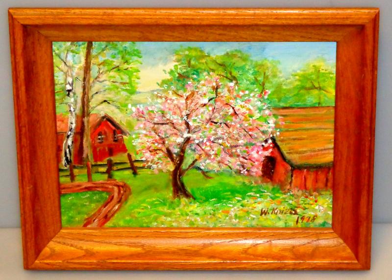 Barns in Pastoral Setting Original Oil in Small Frame.  15 1/2 x 12.  <b>$35</b>