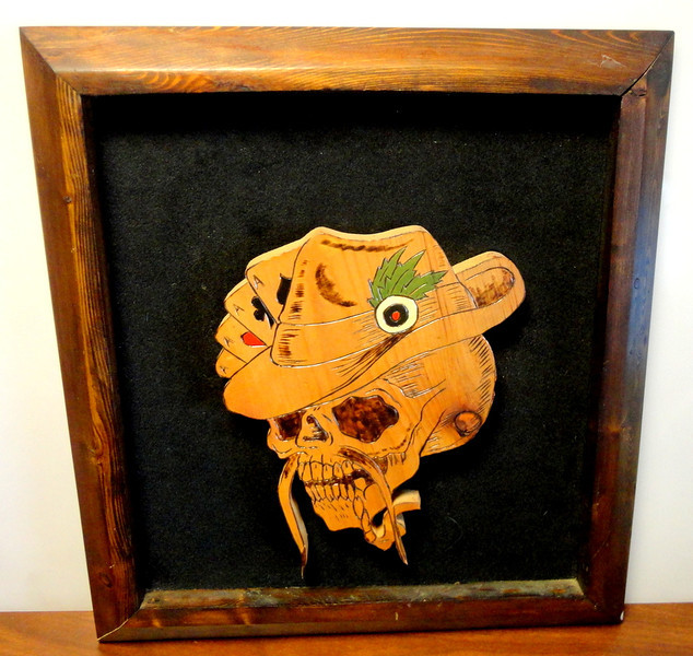 Hand Carved Solid Wood Skull with 4 Aces.  17 x 19.  <b>$65</b>