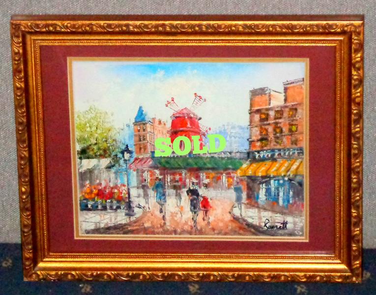 <i>Moulin Rouge</i> by Runnett Original Oil in Ornate Frame.  Extra Nice.  15 x 12.  <b></b>