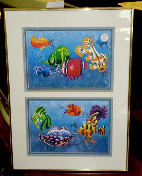 Colorful Tropical Fish Lithograph.  16 x 22.  <b>$35</b>