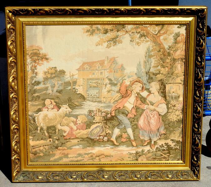 Elegant French Provincial Tapestry Art in Ornate Frame.  34 x 32.  <b>  $195</b>
