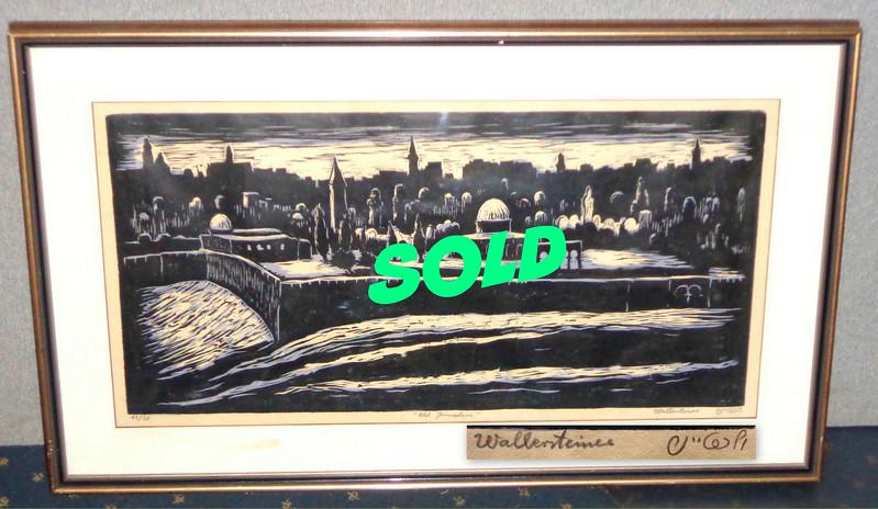 <i>Old Jerusalem</i> - Rare Vintage Limited Edition (#11 of 30) Signed Framed Print by Wallersteines.  34 x 20 1/2.  <b>$250</b>