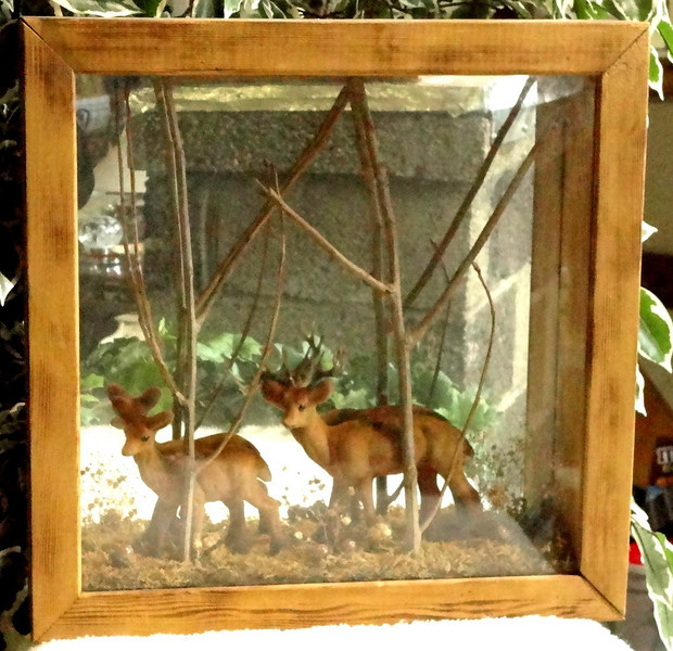 Unique Solid Wood  3-D Shadow Box Mirrored Scene of Deers In Forest.   18 x 4 x 18.  <b>$85</b>