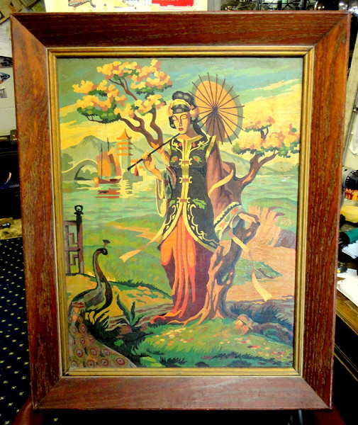Unique Original Oil Japanese Maiden with Parasol in Elegant Solid Wood Frame.  23 x 29.  <b>$165</b>