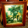 Vintage Colonial Home Front Scene Oil on Canvass in Elegant Solid Wood Frame.  28 x 34.  <b>$95</b>