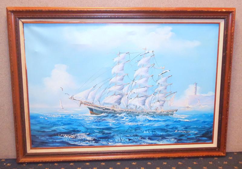Sailing Ship Original Oil on Canvass.  40 1/2 x 30 1/2.   <b>$35</b>