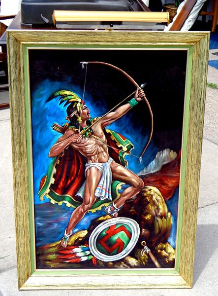 <i>Popocatepetl </i> - Aztec Warrior Oil on Black Velvet in Frame with Light.  27 x 39.  <b>$125</b>