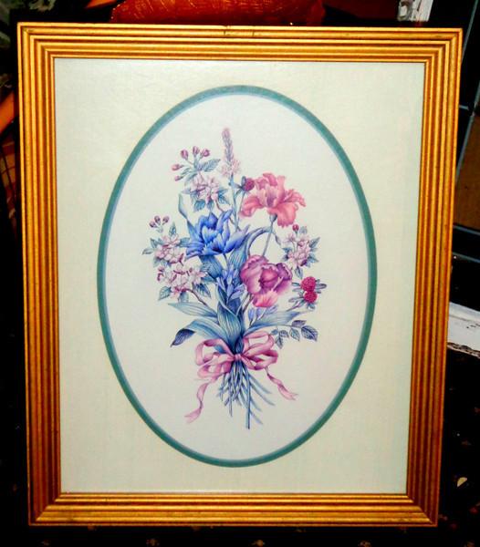 Floral Art in Frame.  18 1/2 x 23.  <b>$20</b>