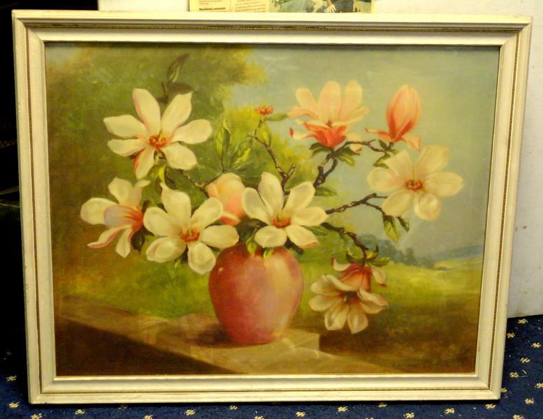 Magnolias by J. Ruting Framed Art.  34 x 28.  <b>  $50</b>