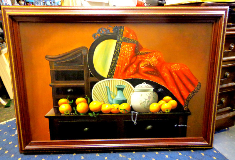 Elegant and Distinctive Asian Vanity Dresser Oil on Canvass.   42 x 30.  <b>$165</b>