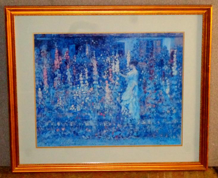 Lady in Garden - Blue Tone Framed Art.  33 x 28. <b>$50</b>