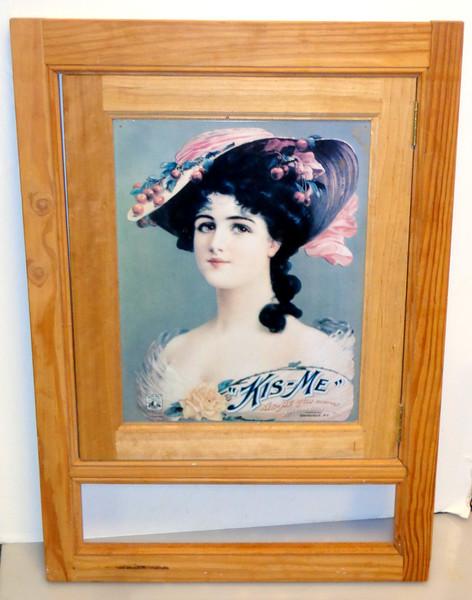 Hard-to-Find Kis-Me Gum Factory Sign on Solid Wood Swinging Door Frame.  21 x 30.  <b>$40</b>