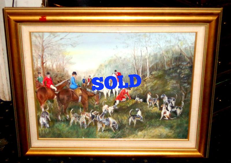 Fox Hunt Original Oil in Frame.  31 x 27.  <b>$75</b>