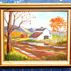 Original Oil by M. Woodcock.  Matting has water damage, but painting is in excellent condition.  25 x 22.  <b>$40</b>