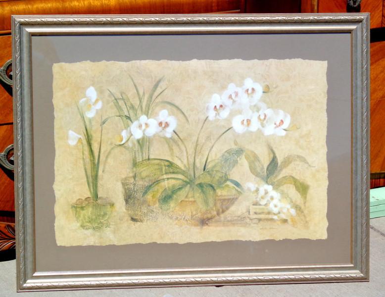 White Orchids Print by Cheri Blum.  Elegant Floral Wall Painting.  38 x 29.  <b>$45</b>