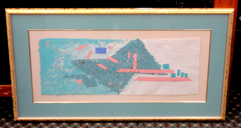 Colorful Contemporary Pastel Raised Cotton Framed Art.  37 x 21.  <b>$40</b>