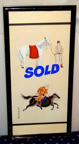 Vintage Asian-Theme Original Watercolor Framed Art. 17 x 36.  <b>$125</b>