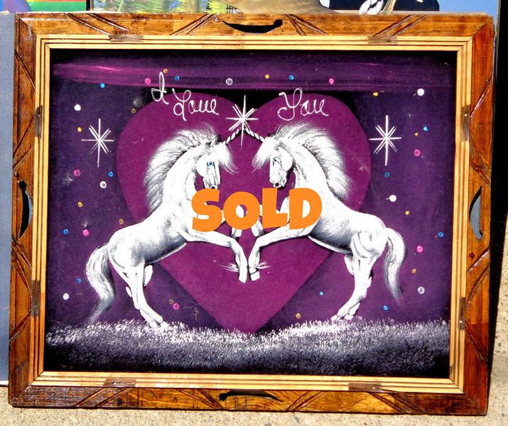 """I Love You"" Unicorns on Felt in Solid Wood Frame.  23 x 20.  <b>$25</b>"