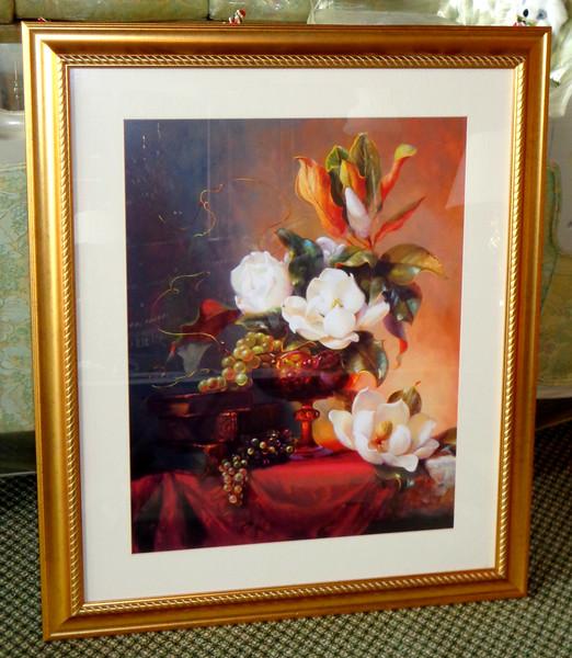 Elegant Floral Still Life Art Print in Ornate Frame.  33 x 39 1/2.  <b>$30</b>